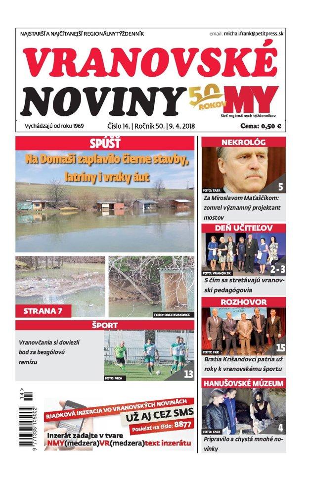 Titulná strana týždenníka Vranovské noviny č. 14/2018.