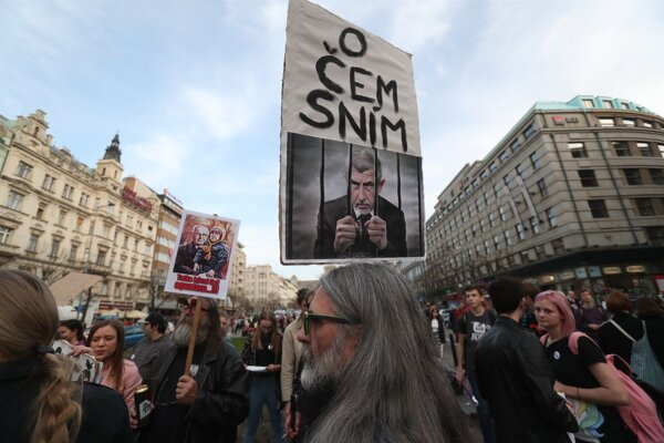 Protest na Václavskom námestí v Prahe.