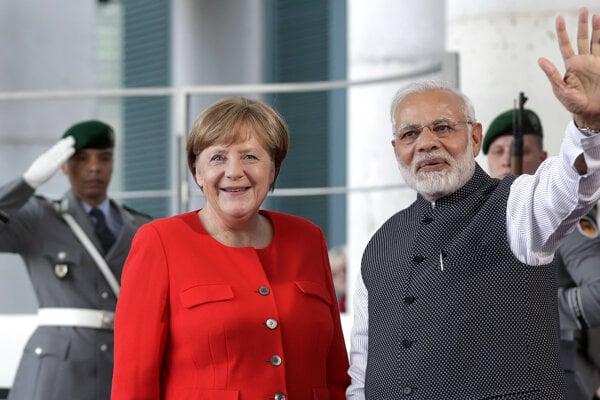 Angela Merkelová a Naréndra Módí.