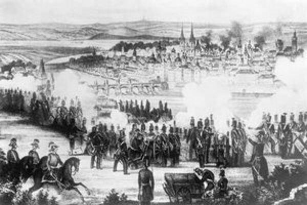 Revolúcie z rokov 1848/1849 zachvátili veľkú časť Európy. Obrázok zobrazuje boj pri Prahe.