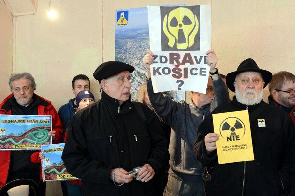 Protest proti ťažbe uránu v Košiciach. Ilustračné foto