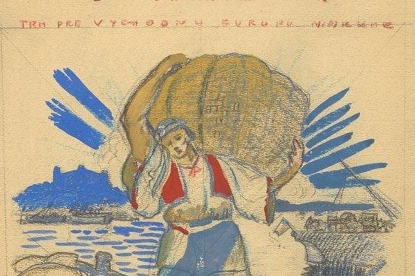 Návrh na plagát k Orientálnemu trhu v Bratislave, 1921.