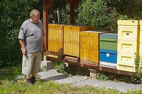 Bohuslav Gabčan na podujatí v Mestečku, kde chodí so svojimi zverencami prezentovať produkciu krúžku. Na obrázku pri výrobe sviečok z včelieho vosku.