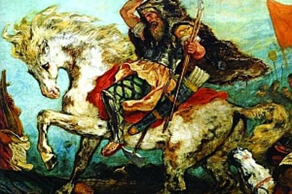 Attila Hún podľa francúzskeho maliara Eugena Delacroixa z roku 1847