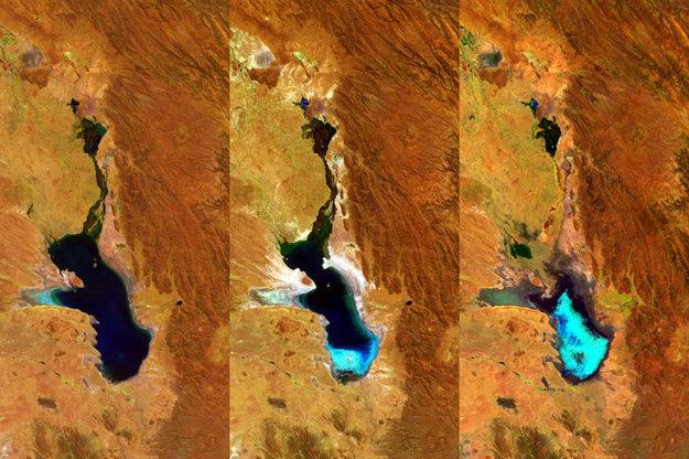 Postupné vysychanie jazera zachytil minisatelit Proba-V.