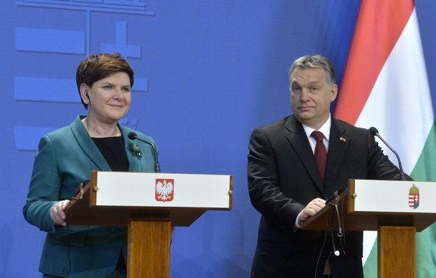 Poľská premiérka Beata Szydlová a maďarský premiér Viktor Orbán.