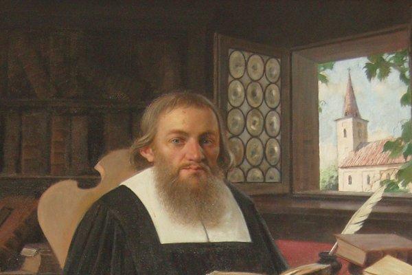 Portrét evanjelického superintendenta Daniela Krmana v myjavskom evanjelickom kostole.