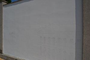 Daniel Hlavka pracuje na ďalšej maľbe. Má ísť o budovu z centra mesta.