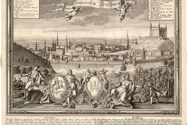 Pohľad na Bratislavu zo severu. Rytina Friedricha Bernharda Wernera, Johanna Georga Pintza, Martina Engelbrechta vo vlastníctve Galérie mesta Bratislava.