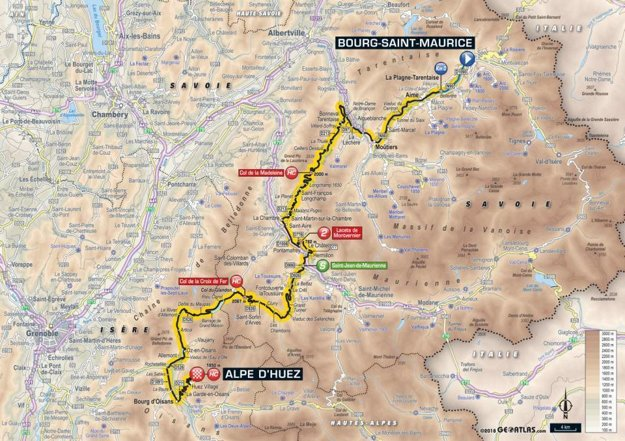 Mapa 12. etapy Tour de France 2018