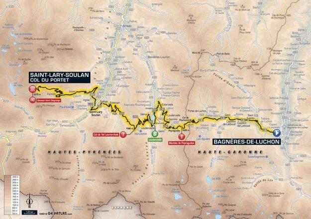 Mapa 17. etapy Tour de France 2018