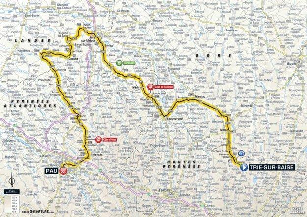 Mapa 18. etapy Tour de France 2018
