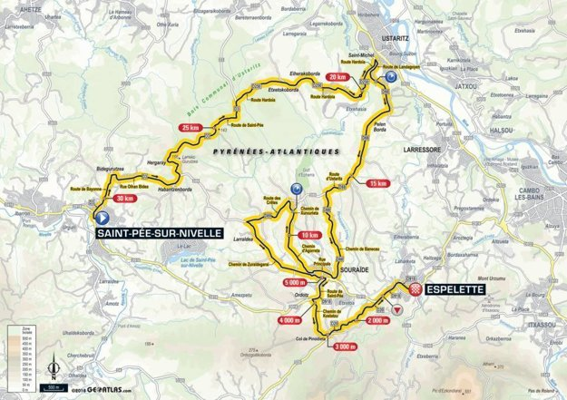 Mapa 20. etapy Tour de France 2018
