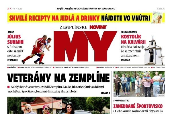 Titulná strana týždenníka MY Zemplínske noviny č. 26/2018.