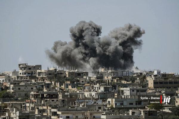 Ostreľovanie sýrskeho mesta Dará v roku 2018.