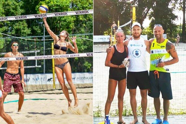 Vľavo víťazná dvojica Lukáš Královič – Nina Velecká. Na druhej snímke zľava Hanka Májeková, organizátor Peter Petrík a Marek Kardoš.