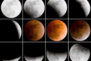 Fázy úplného zatmenia Mesiaca odfotografované zkanadského Toronta vo februári 2008.