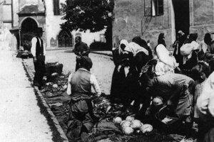 Známy bystrický zeleninový trh - 30. roky 20. storočia.