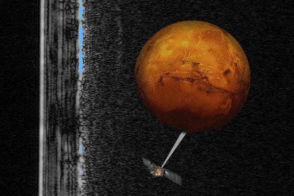 Umelecká predstava sondy Mars Express , ktorá mapuje Mars. Vľavo na zábere sú radarové signály, ktoré naznačujú prítomnosť kvapalného vodného jazera.