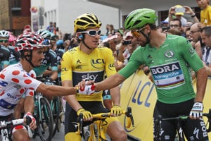 Peter Sagan (vpravo), Geraint Thomas (uprostred) a Julian Alaphilippe.