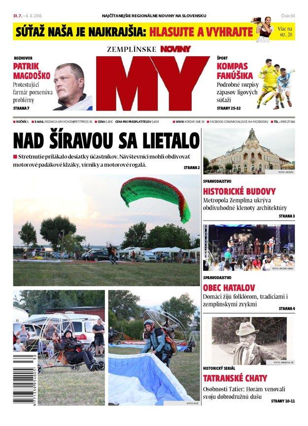 Titulná strana týždenníka MY Zemplínske noviny č. 30/2018.