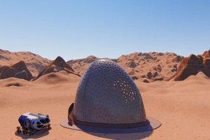 3. miesto: Návrh od tímu Kahn-Yates. Na Marse pristane lander, ktorý bude tvoriť jadro domu. Vysunie rameno 3-D tlačiarne a začne tlačiť vonkajšie steny. V jednej stene budú vytvorené nepravidelné priezory, cez ktoré do domu bude prúdiť svetlo pre ľudí aj záhradu ukrytú za stenou.