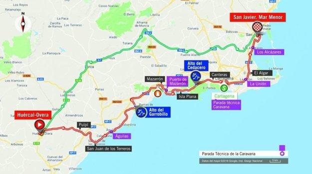 Mapa 6. etapy pretekov Vuelta 2018.