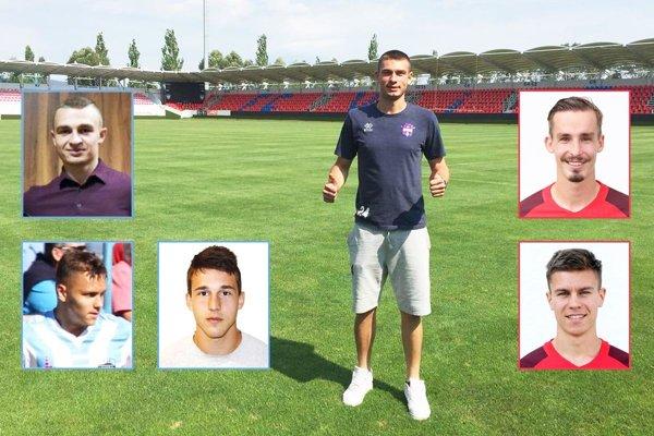 Na hlavnej fotke Srb Aleksander Miličević, ktorý sa stal hráčom FC ViOn. Vľavo nitrianska trojica Čeredničenko, Guláš, Dubeň, vpravo noví Seredčania Sus a Vukovič.