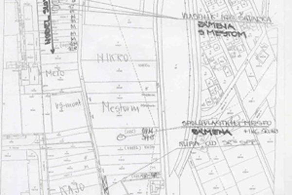 Mapa priemyselnej časti. Pre scelenie pôdy pod Nobel Slovakia chce mesto s Ondrejom Škvarkom zameniť pozemky v tej istej lokalite. Prevod má schváliť tento týždeň mestské zastupiteľstvo.
