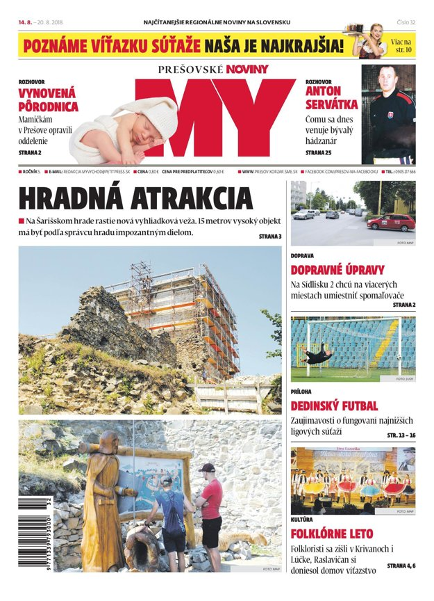 Titulná strana týždenníka MY Prešovské noviny č. 32/2018.