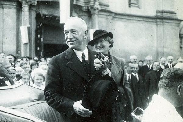 Prezident Edvard Beneš na návšteve v Prievidzi v roku 1936