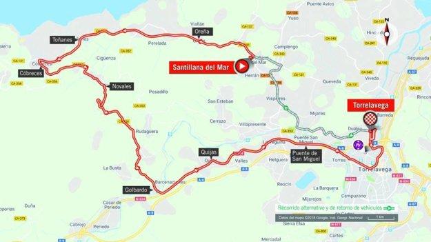 Mapa 16. etapy pretekov Vuelta 2018. (zdroj: lavuelta.es)
