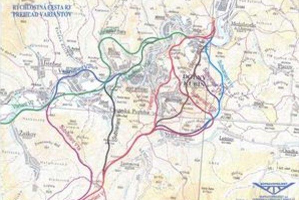 Hnedý variant obchvatu R3 cez obchádza Dolný Kubín dvoma tunelmi poza Brezovec po Vyšný Kubín.