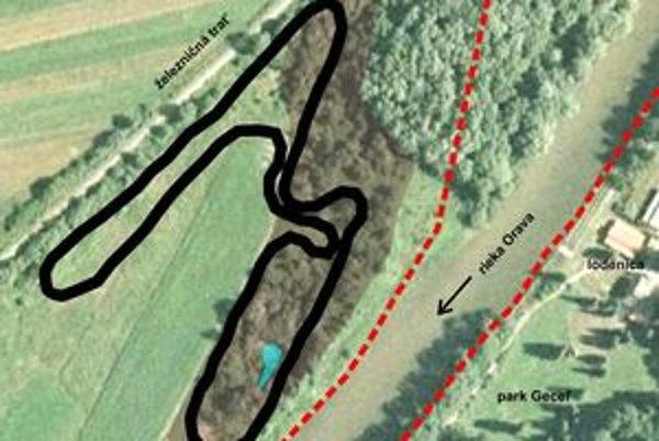 Navrhovaná trať motokrosového areálu v katastri Veličnej v lokalite Sihoť medzi železničnou traťou a pravým brehom rieky Oravy.
