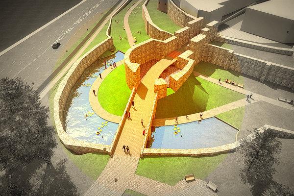 Plánovaná vodná plocha pri východnom barbakáne má pripomínať stredovekú vodnú priekopu. (ZDROJ: ARCHÍV MESTA)
