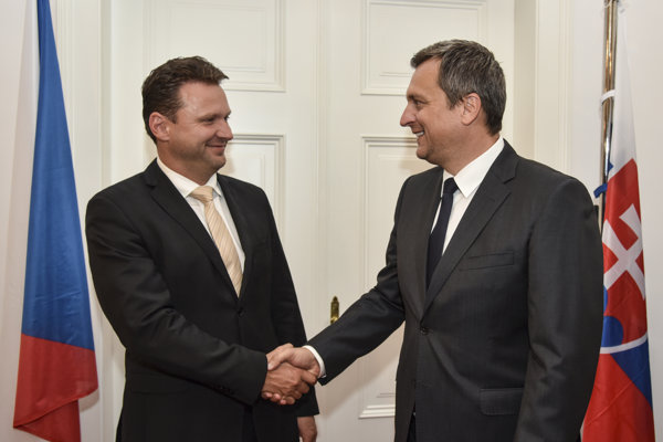 Na snímke zľava predseda Poslaneckej snemovne Parlamentu Českej republiky Radek Vondráček, predseda Národnej rady SR Andrej Danko počas Slávnostnej akadémie pri príležitosti 25. výročia vzniku Slovenskej republiky 1. septembra 2018 v Bratislave.