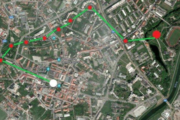 Trasa, ktorou 15. 9. pôjdu dobrovoľníci pri upratovaní mesta.