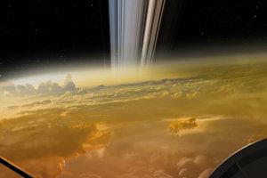 Umelecké zobrazenie posledných chvíľ sondy Cassini pred vstupom do atmosféry, kde zhorela.