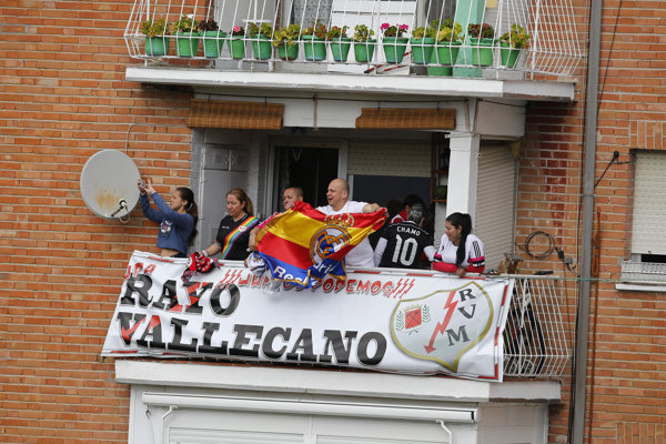 Rayo Vallecano oslavuje.