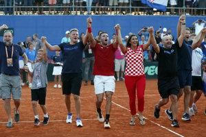 Chorvátsko oslavuje postup do finále Davisovho pohára.