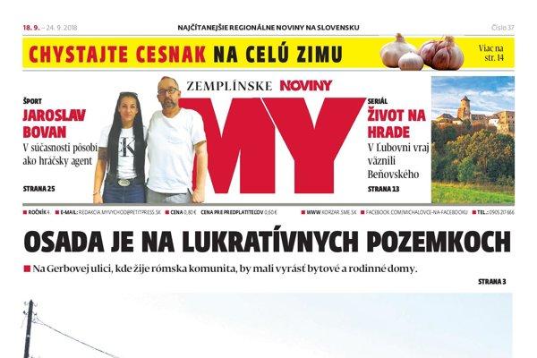 Titulná strana týždenníka MY Zemplínske noviny č.  37/2018.