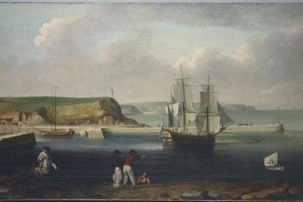 Maľba lode Earl of Pembroke, neskôr premenovanej na HMS Endeavour. Tejto prieskumnej lodi velil kapitán James Cook na svojej prvej plavbe po Tichom oceáne.