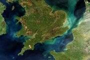 Satelitný záber Britských otstrovov a severného Francúzska.