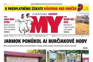 Titulná strana týždenníka MY Zemplínske noviny č. 38/2018.