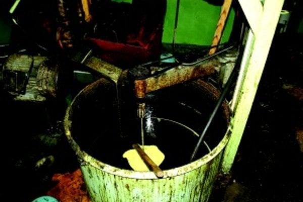 Začiatok výroby. Surový olej pred ďalším spracovaním, vedľa neho vychádzajú zo stroja výlisky.