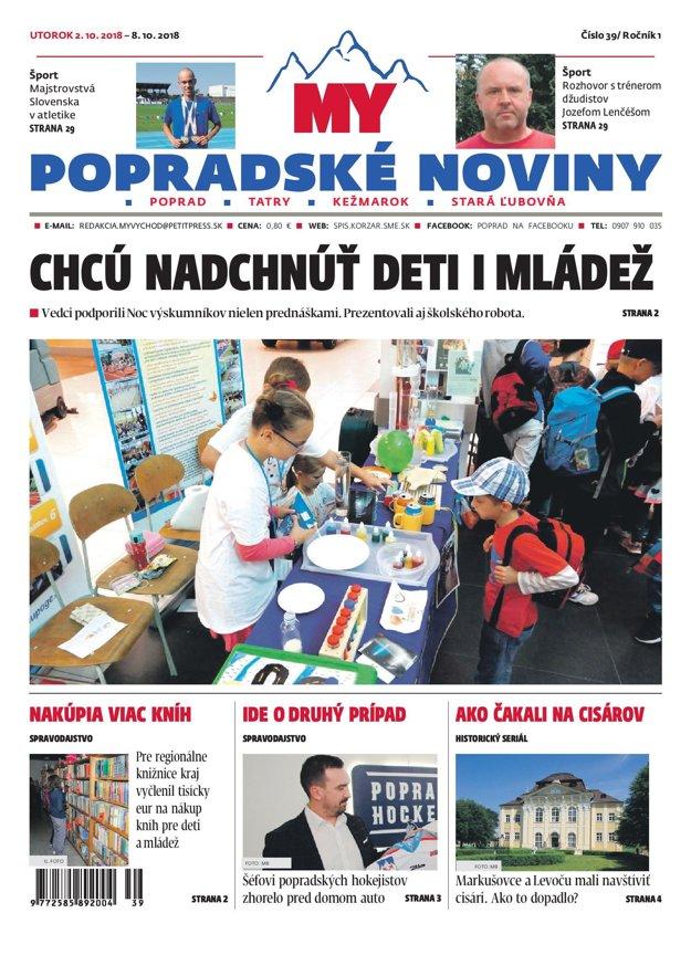 Titulná stránka týždenníka MY Popradské noviny č. 39/2018.