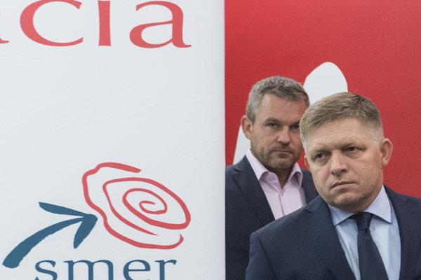 Šéf Smeru Robert Fico a premiér Peter Pellegrini.