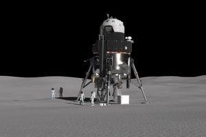 Koncept lander spoločnosti Lockheed Martin na povrchu Mesiaca.