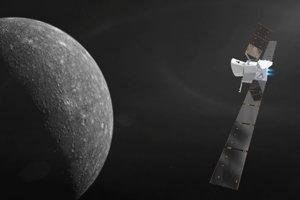 Vizualizácia sondy BepiColombo pri Merkúre.
