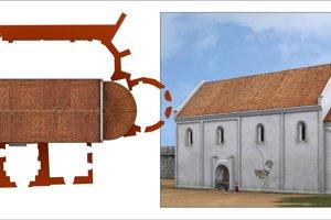 Takto vyzeral v 11. storočí pôvodný románsky kostol na Nitrianskom hrade, na pôdoryse vidno rozdiel oproti súčasnému kostolu.